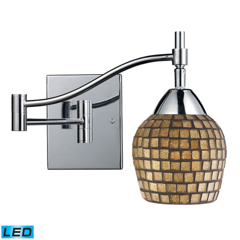 Celina 1 Light LED Swingarm Sconce In Polished Chrome And Gold Leaf Glass Wall Elk Lighting