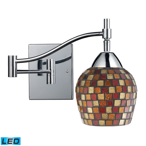 Celina 1 Light LED Swingarm Sconce In Polished Chrome And Multi Fusion Glass Wall Elk Lighting Default Value
