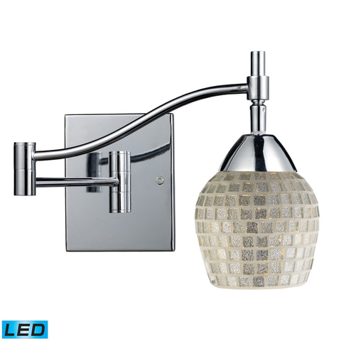 Celina 1 Light LED Swingarm Sconce In Polished Chrome And Silver Glass Wall Elk Lighting