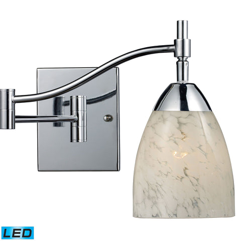 Celina 1 Light LED Swingarm Sconce In Polished Chrome And Snow White Wall Elk Lighting