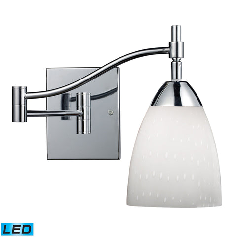 Celina 1 Light LED Swingarm Sconce In Polished Chrome And Simple White Wall Elk Lighting