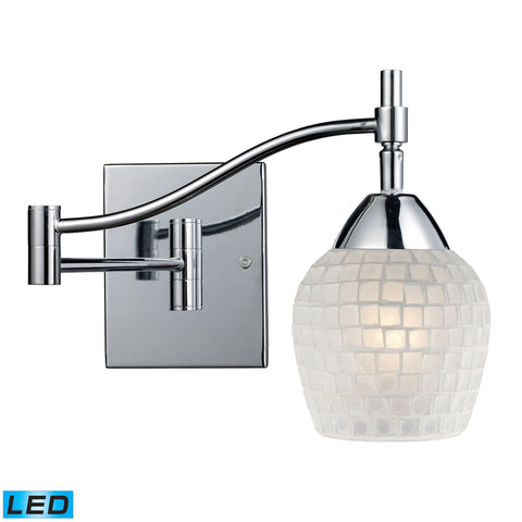 Celina 1 Light LED Swingarm Sconce In Polished Chrome And White Wall Elk Lighting