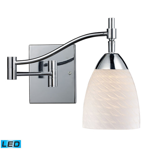 Celina 1 Light LED Swingarm In Polished Chrome And White Swirl Glass Wall Elk Lighting