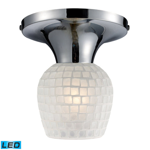 Celina 1 Light LED Semi Flush In Polished Chrome And White