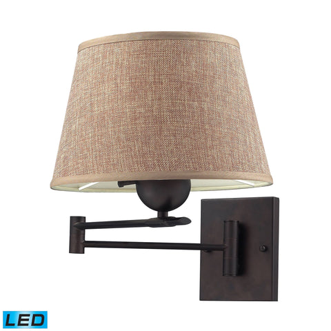Swingarms 1 Light LED Swingarm Sconce In Aged Bronze With Tan Shade Wall Elk Lighting