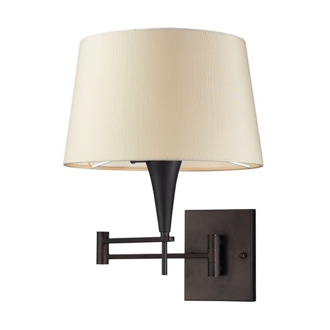 Swingarms 1 Light Swingarm Sconce In Aged Bronze With Beige Shade Wall Elk Lighting