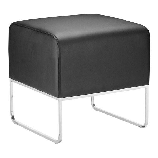 Plush Ottoman Black Furniture Zuo