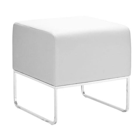 Plush Ottoman White Furniture Zuo