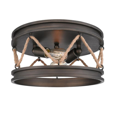 "Chatham 14""w Flush Mount in Gunmetal Bronze Ceiling Golden Lighting"