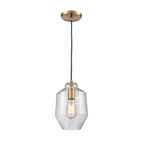 "Barrel Series 7""w Brass Mini Pendant with Clear Glass"