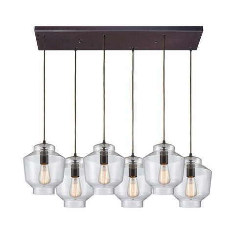 "Barrel Series 6 Light 32""w Bronze Linear Multi Pendant with Clear Glass Ceiling Elk Lighting Default Value"
