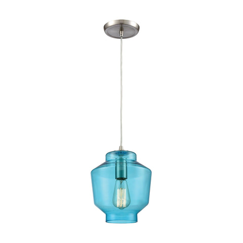 "Barrel 8""w Satin Nickel Mini Pendant with Aqua Glass"