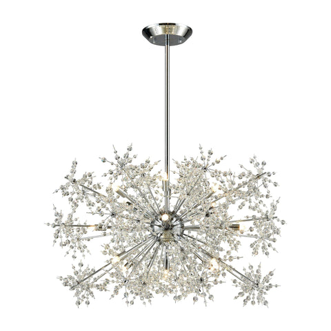 Snowburst 15 Light Chandelier In Polished Chrome Ceiling Elk Lighting