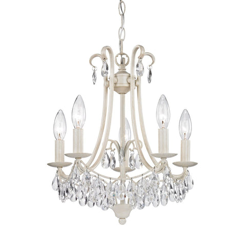 5 Light Mini Chandelier In Antique Cream And Clear Ceiling Sterling