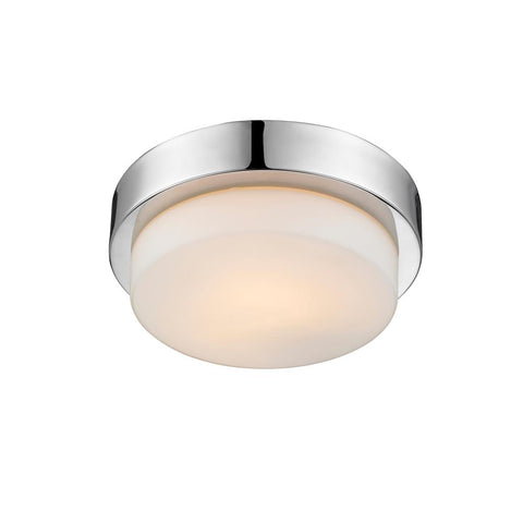 "Contemporary 9""w Flush Mount in Chrome with Opal Glass"
