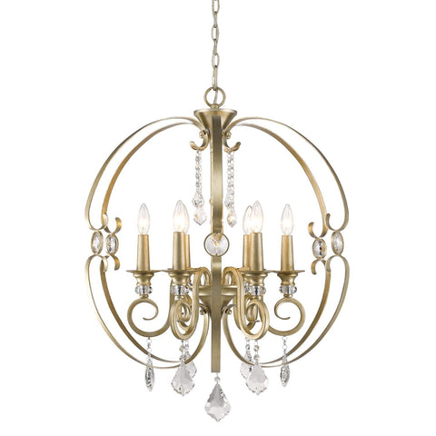 "Ella 26""w 6 Light Chandelier in White Gold"