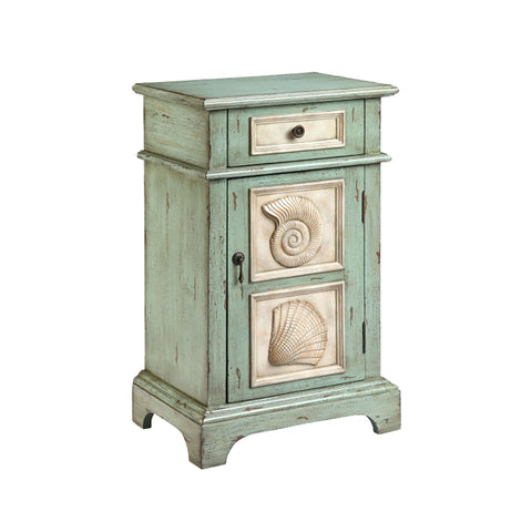 "Hastings 19""w Seashell Seafoam Side Table Furniture Stein World"