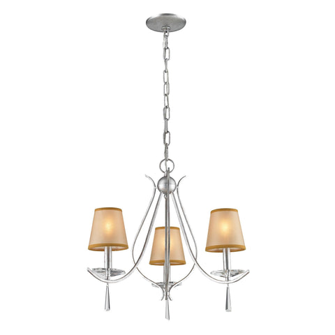 Clarendon 3-Light Chandelier in Silver, Shades Included