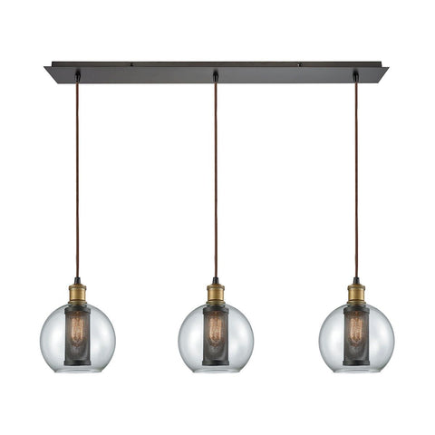 Bremington 3 Light Linear Pan Pendant In Tarnished Brass/Oil Rubbed Bronze With Clear Glass And Perforated Metal Cage Ceiling Elk Lighting