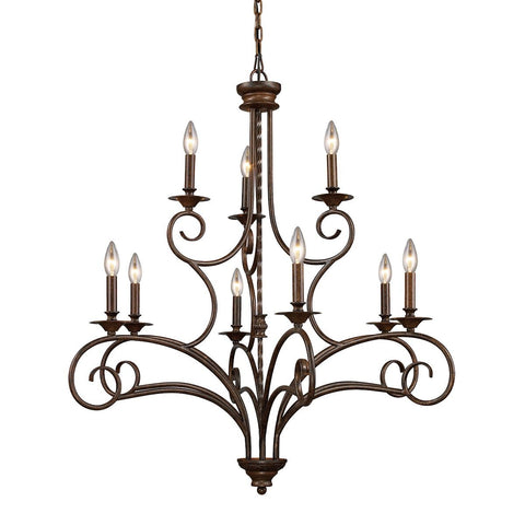 Gloucester 9 Light Chandelier In Weathered Bronze Ceiling Elk Lighting