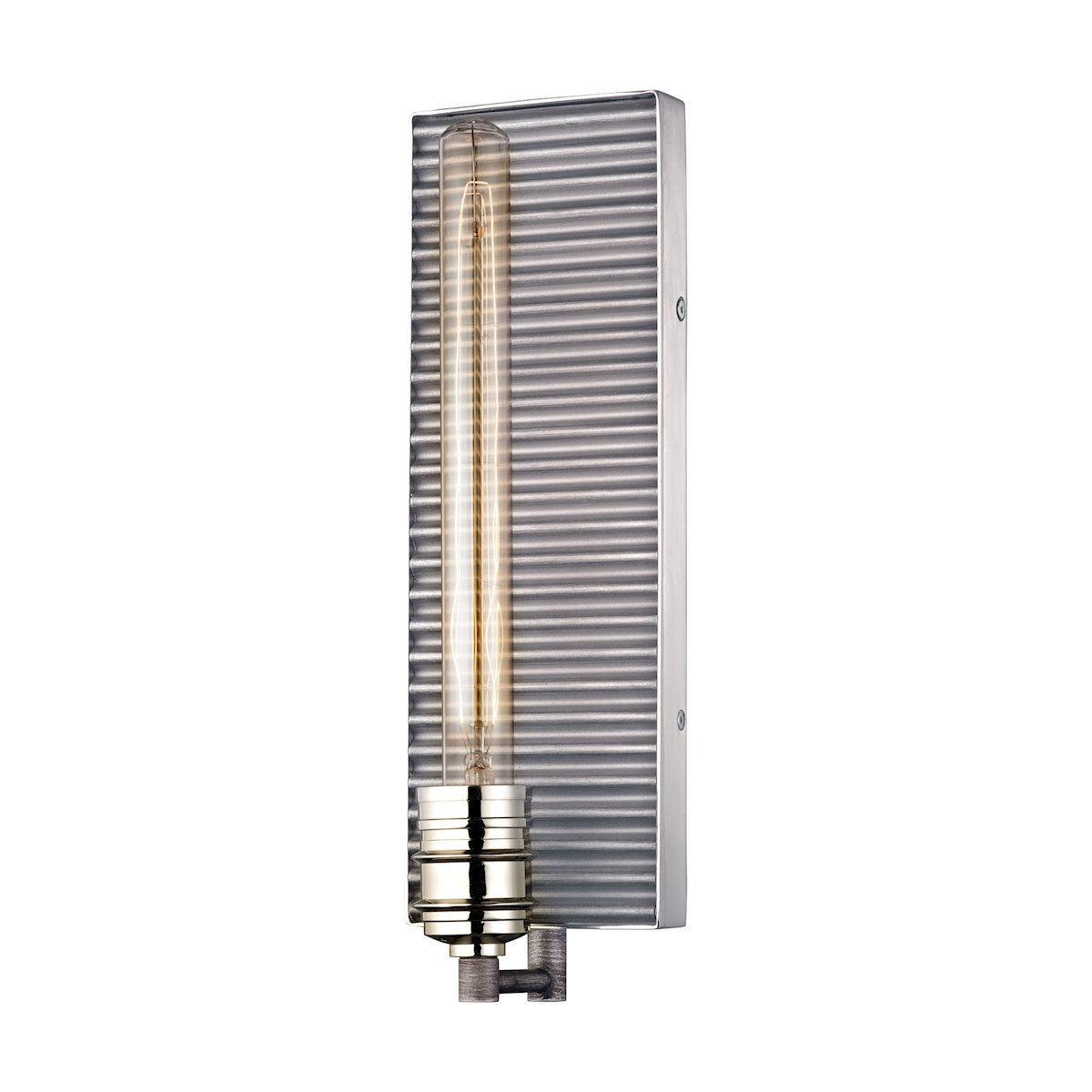 Corrugated Steel 1 Light Wall Sconce In Weathered Zinc And Polished Nickel Wall Sconce Elk Lighting