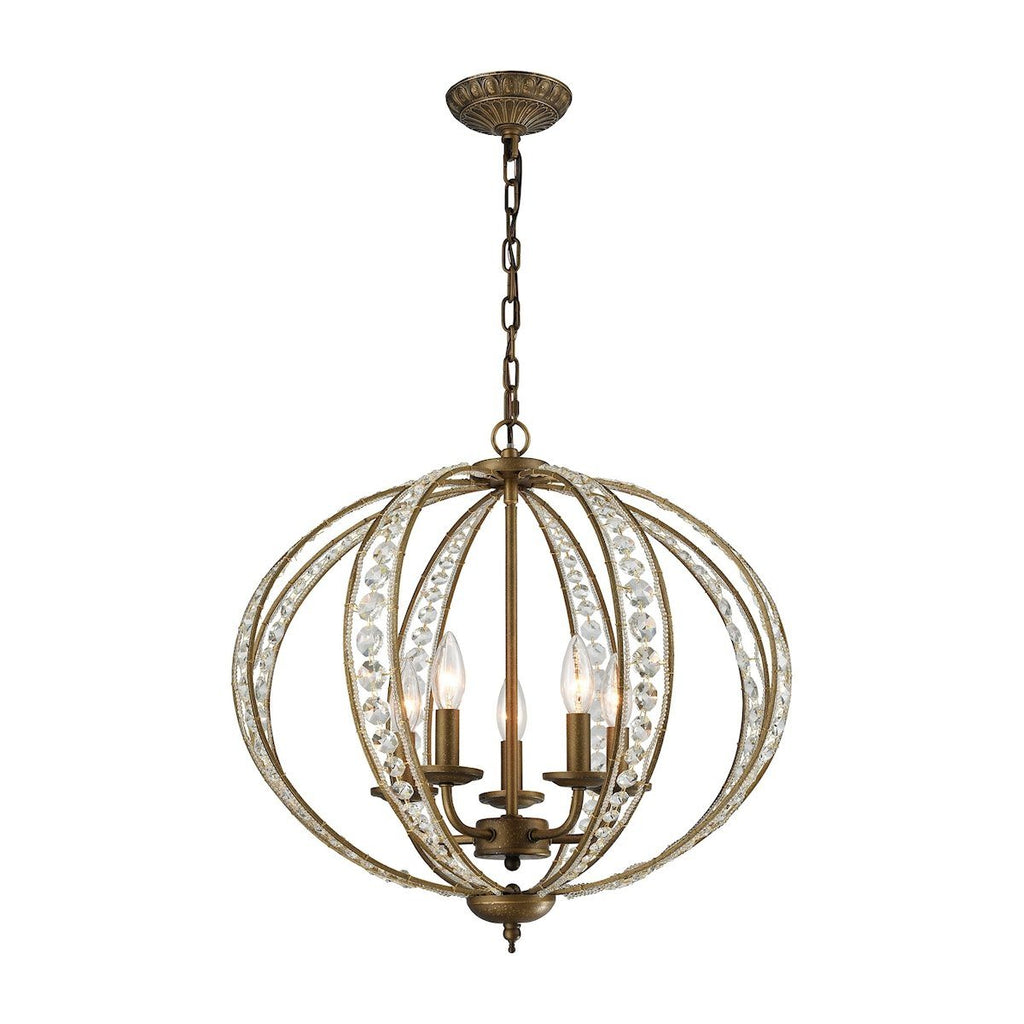 Elizabethan 5 Light Chandelier In Dark Bronze Ceiling Elk Lighting