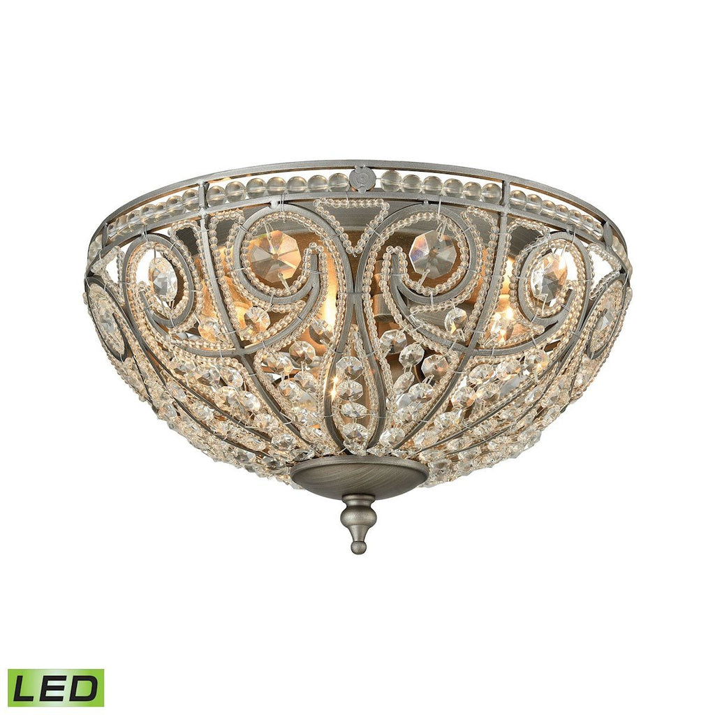 Elizabethan 3 Light LED Flush In Weathered Zinc Flush Mount Elk Lighting