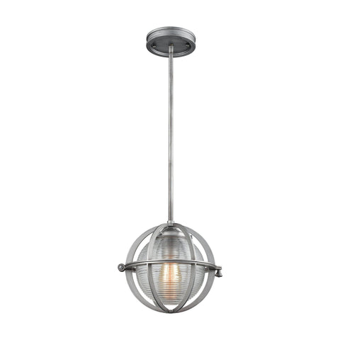 "Aubridge 10""w Weathered Zinc Mini Pendant with Ribbed Glass"