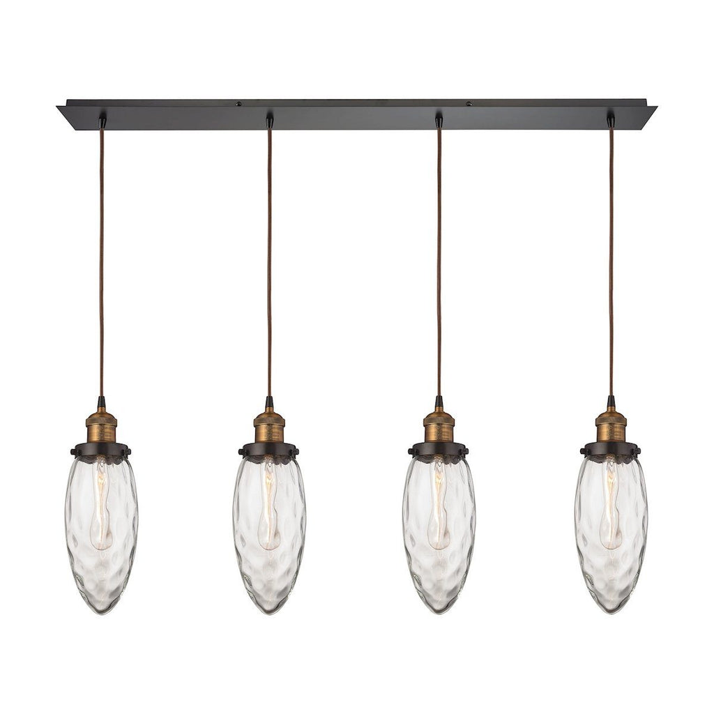 Owen 4 Light Pendant In Oil Rubbed Bronze And Antique Brass Ceiling Elk Lighting