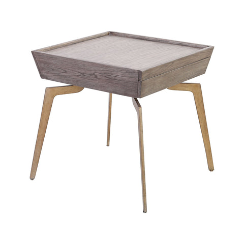 Larocca Accent Table in Soft Gold and Grey Birch Veneer