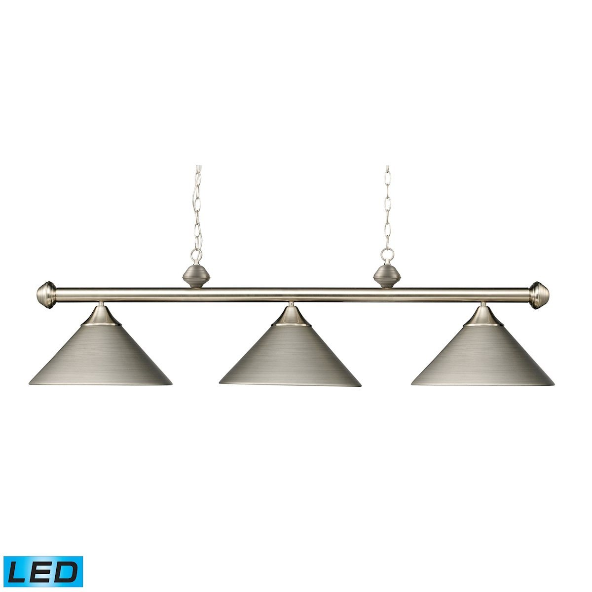 Casual Traditions 3 Light LED Billiard In Satin Nickel With Matching Metal Shades Ceiling Elk Lighting