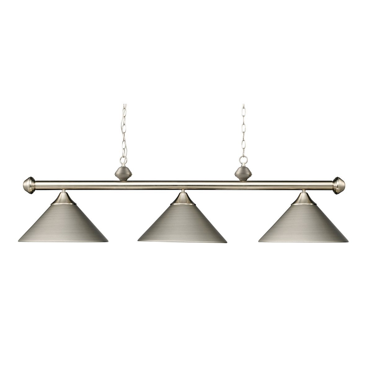 Casual Traditions 3 Light Billiard In Satin Nickel With Matching Metal Shades Ceiling Elk Lighting