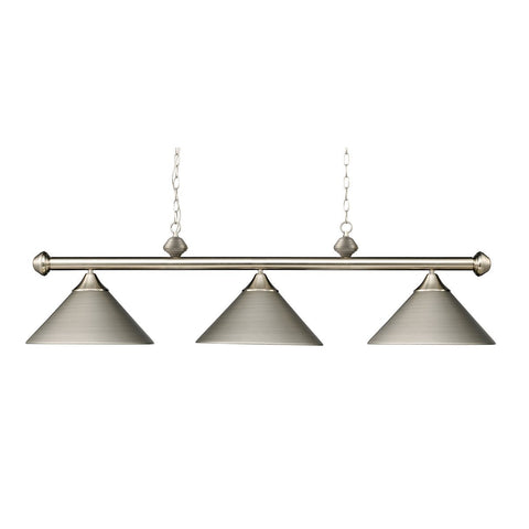 Elk Lighting Casual Traditions 3 Light Billiard In Satin Nickel With Matching Metal Shades