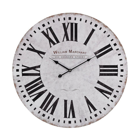 Aged White Wall Clock Wall Art Sterling