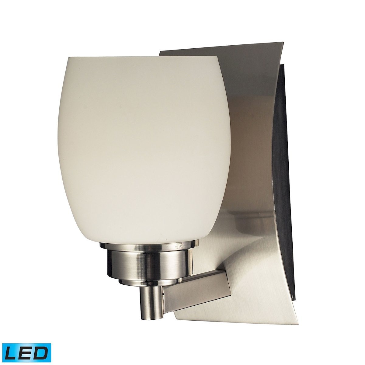 Northport 1 Light LED Vanity In Satin Nickel And Opal White Glass Wall Elk Lighting