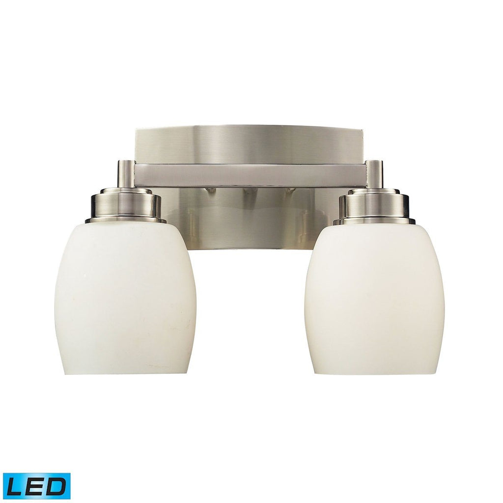 Northport 2 Light LED Vanity In Satin Nickel And Opal White Glass Wall Elk Lighting