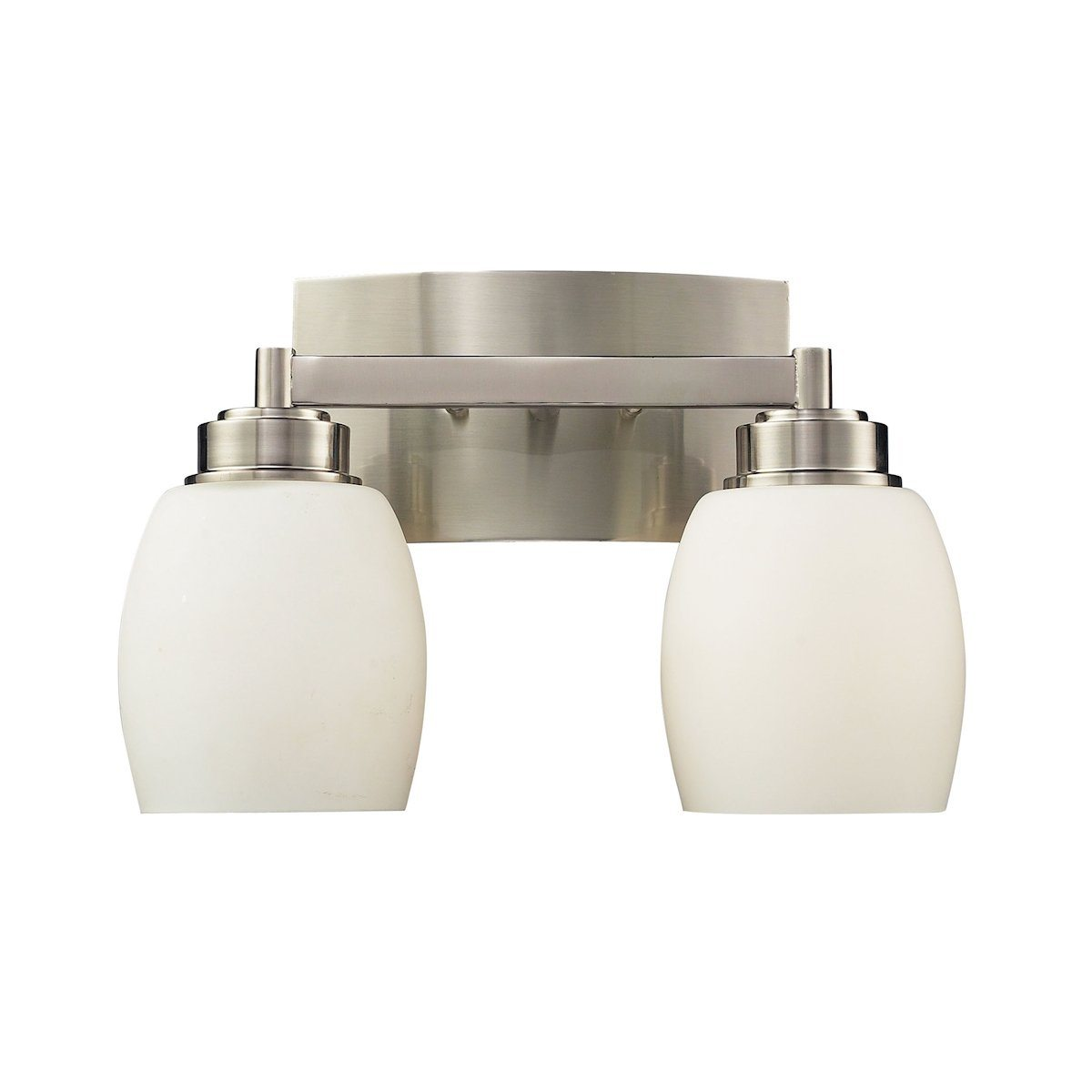 Northport 2 Light Vanity In Satin Nickel And Opal White Glass Wall Elk Lighting