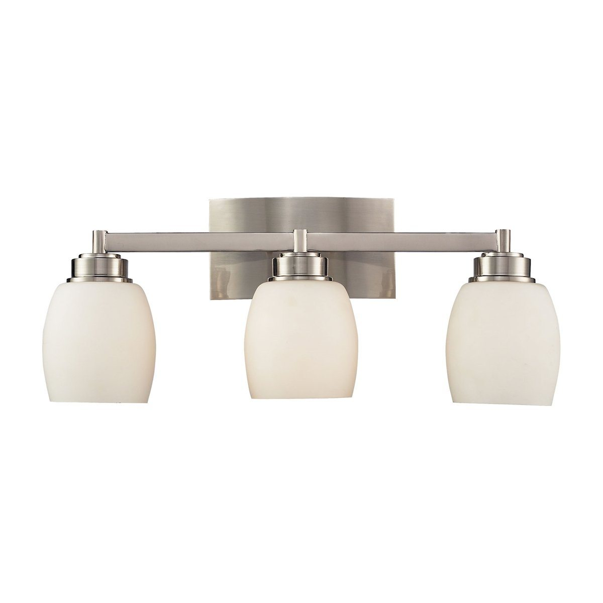 Northport 3 Light Vanity In Satin Nickel And Opal White Glass Wall Elk Lighting