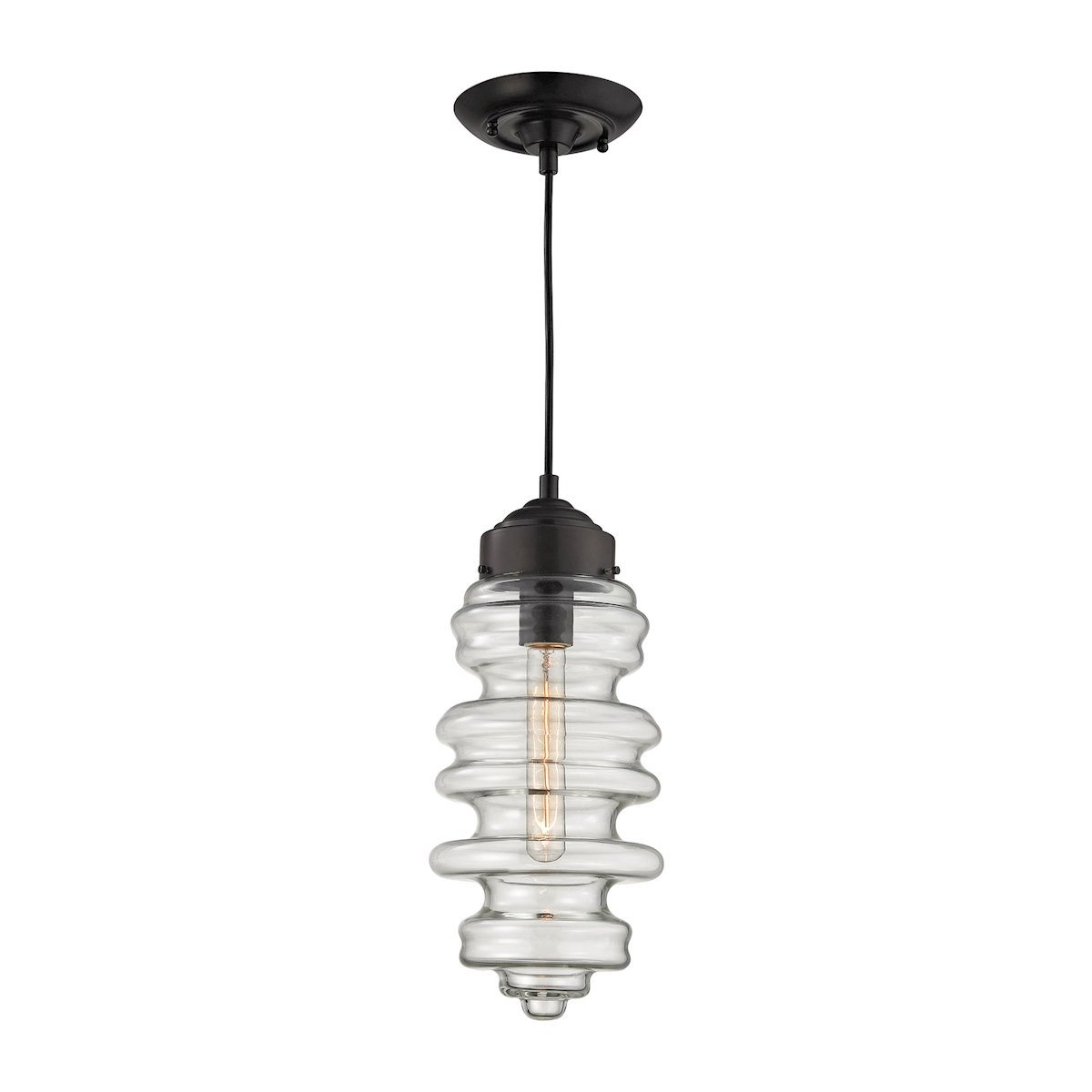 Cipher Pendant In Oil Rubbed Bronze And Clear Glass Ceiling Elk Lighting