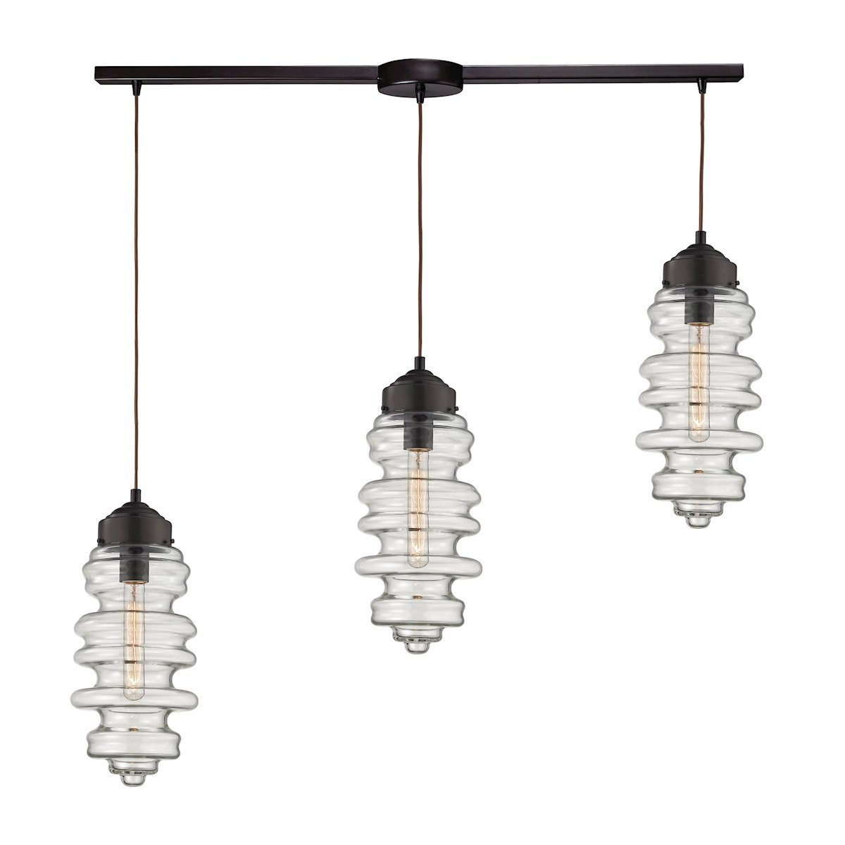 Cipher 3 Light Pendant In Oil Rubbed Bronze And Clear Glass Ceiling Elk Lighting