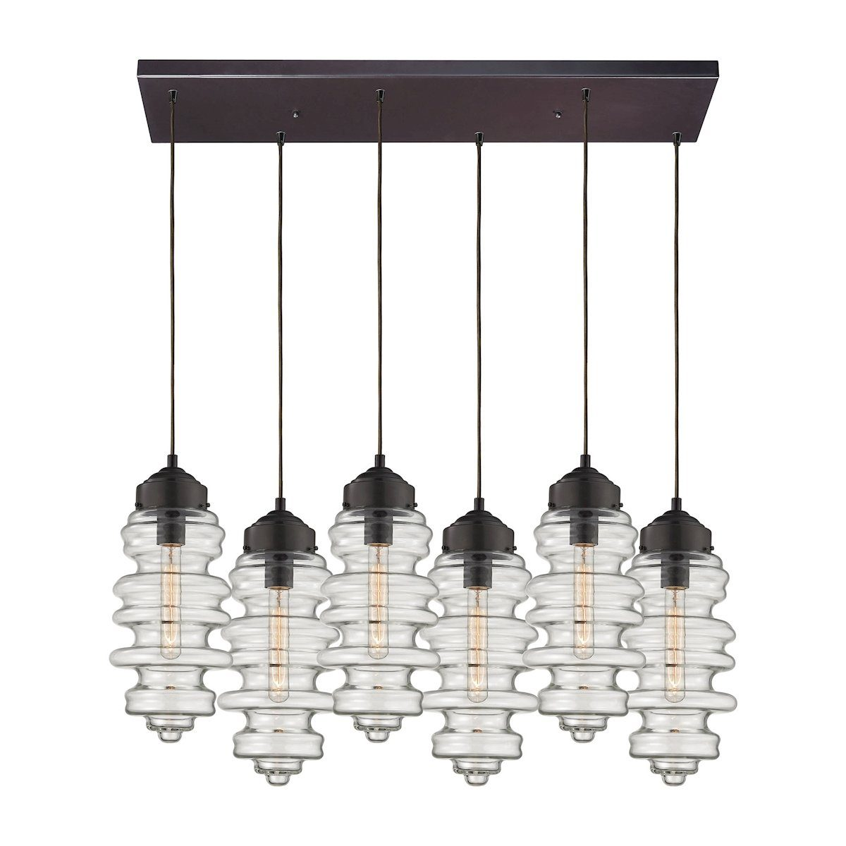 Cipher 6 Light Pendant In Oil Rubbed Bronze And Clear Glass Ceiling Elk Lighting