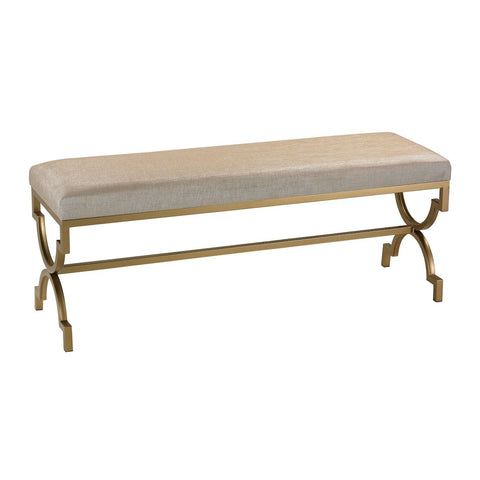 Gold Cane Double Bench In Cream Metallic Linen FURNITURE Sterling