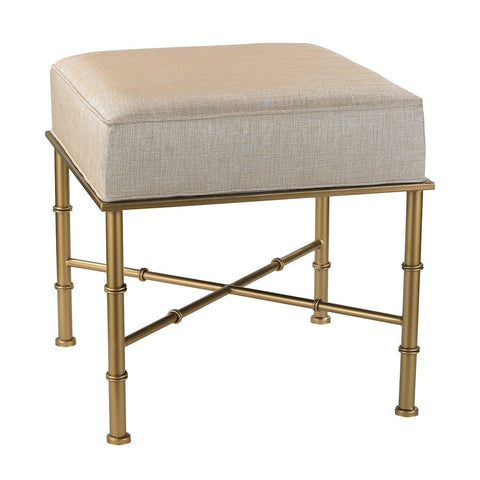 Gold Cane Bench In Cream Metallic Linen FURNITURE Sterling