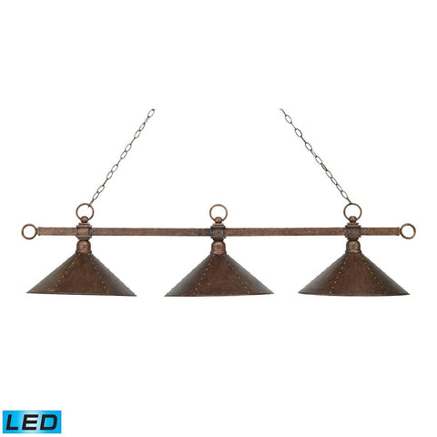 Designer Classic 3 Light LED Billiard In Antique Copper With Hand Hammered Iron Shades Ceiling Elk Lighting