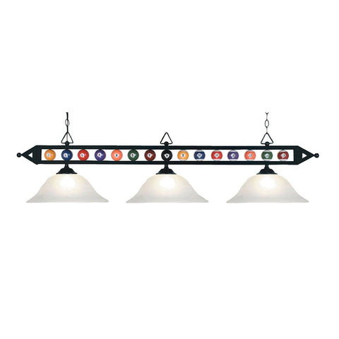 Designer Classics 3 Light Billiard In Matte Black And White Glass Ceiling Elk Lighting