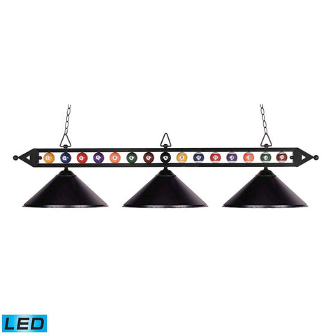 Designer Classics 3 Light LED Billiard In Matte Black Ceiling Elk Lighting