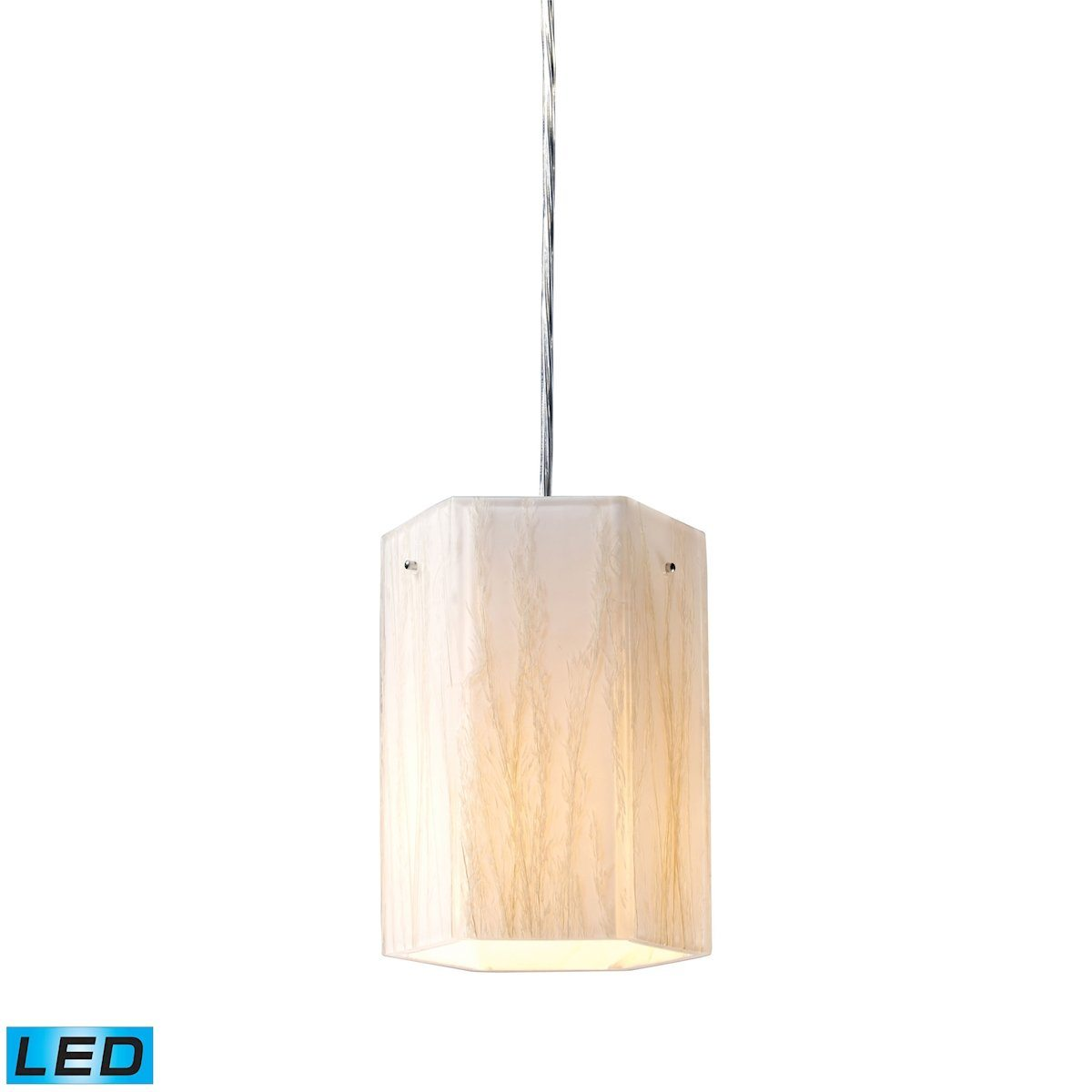 Modern Organics LED Pendant In Polished Chrome And White Sawgrass Ceiling Elk Lighting