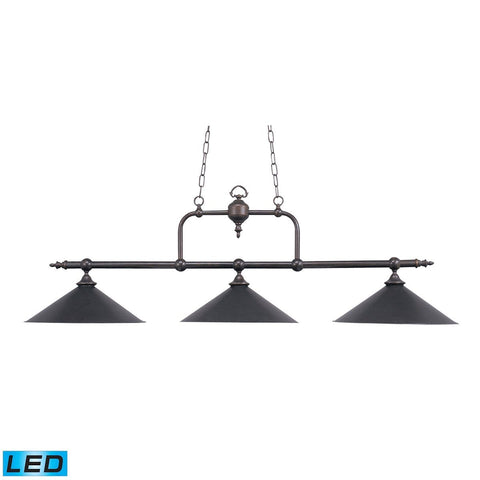 Designer Classics 3 Light LED Billiard In Tiffany Bronze Ceiling Elk Lighting