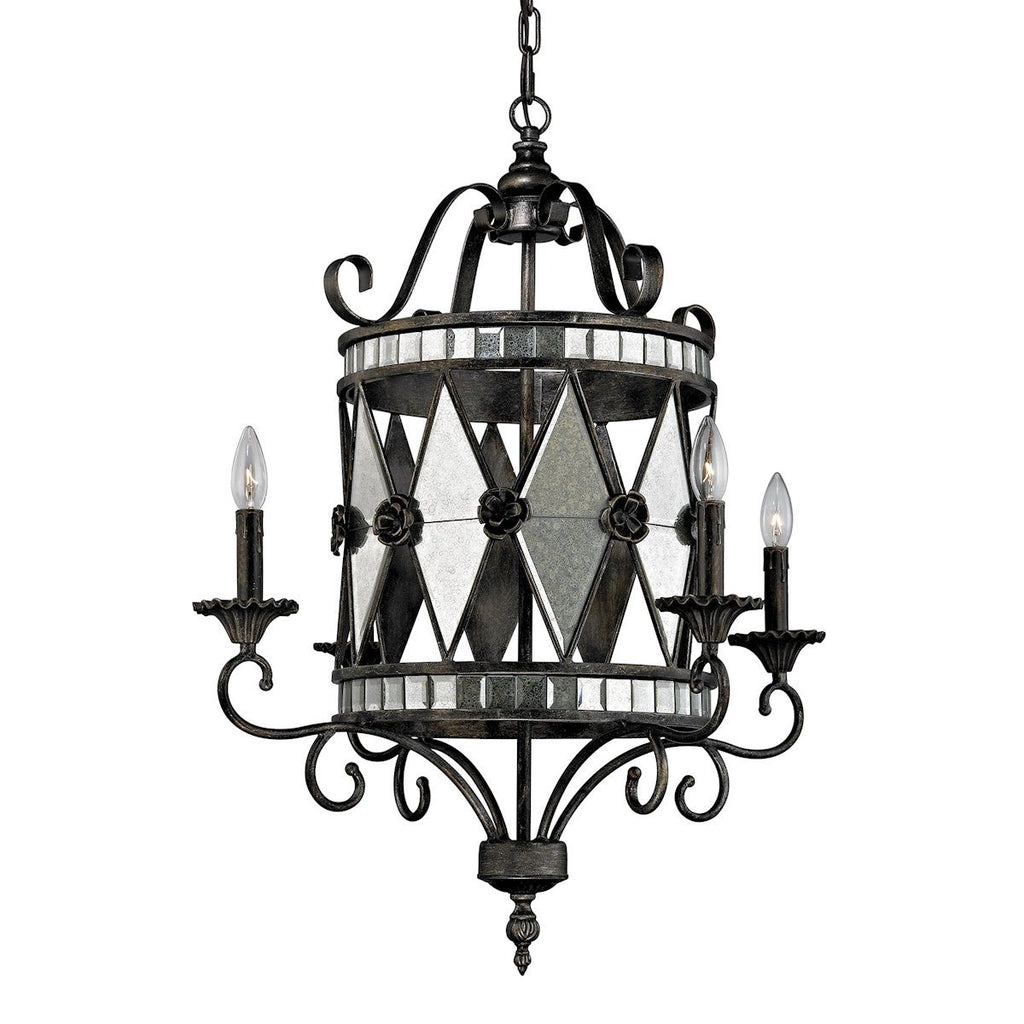 Mariana 4 Light Chandelier In Blackened Silver Ceiling Elk Lighting