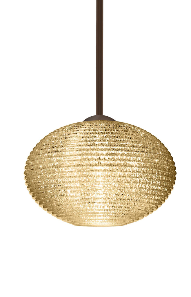 "Pape 10""w Pendant - Gold Glitter (Choose Cord or Stem, Satin Nickel or Bronze)"